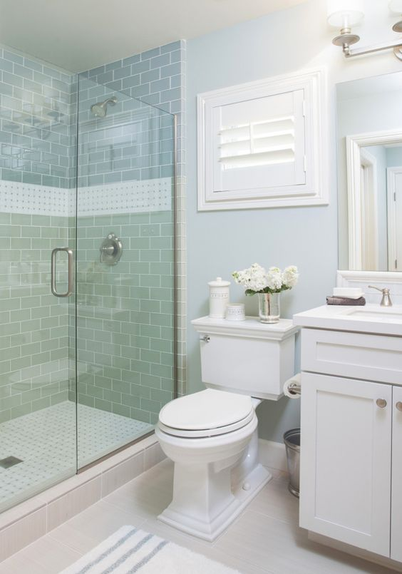 Coastal bathroom with aqua blue subway tile agk design for Small coastal bathroom ideas