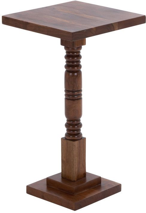 Benzara 28704 Round Shaped Pedestal Table With Sturdy Wooden Construction
