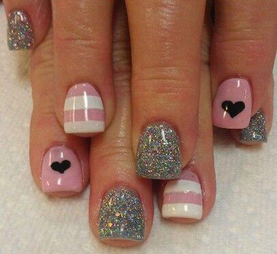 heart nail art - 70+ Heart Nail Designs   Art and Design