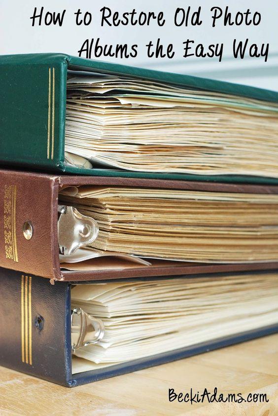 Becki Adams Designs: Restoring Old Photo Albums into Pocket Page Scrapbooks (Part One)