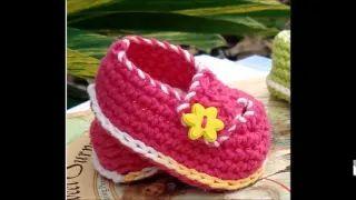 crochet baby booties - YouTube