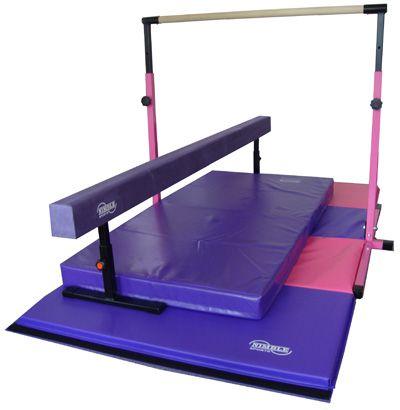 Little Gym Deluxe - Adjustable Bar - Adjustable Balance Beam - Folding Gymnastics Mat - Landing Mat
