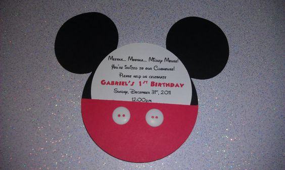 Handmade Mickey Mouse Invitation  REAL by uniqueboutiquebygami, $35.00