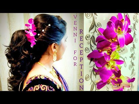 Bridal Jadai Venni With Orchid And Gerbera Flowers Youtube Flowers In Hair Bridal Hair Comb Floral Floral Wedding Hair