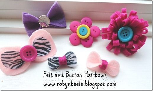 Felt and Button Hairbows  www.robynbeele.blogspot.com