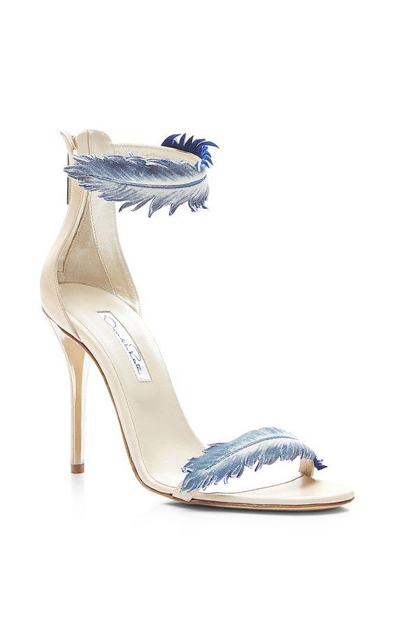 Aubree Feather-Detail Suede High-Heel Sandals by Oscar de la Renta
