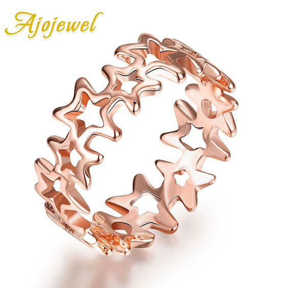 Rose Gold Plated Shinning Hollow Out Little Stars Rings For Girls