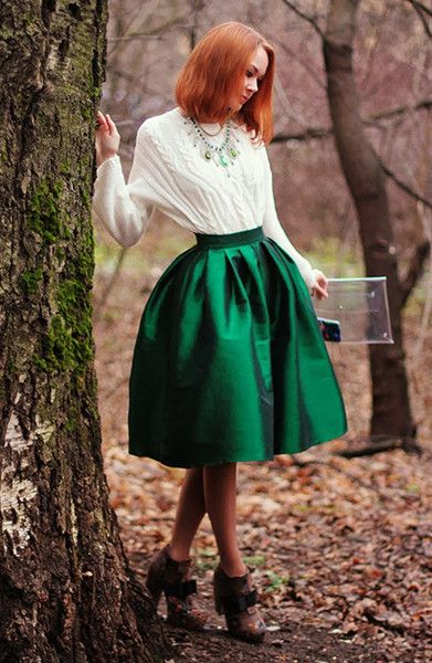 Choies Green Midi Skater Skirt | Fashionista | Pinterest | Skirts ...