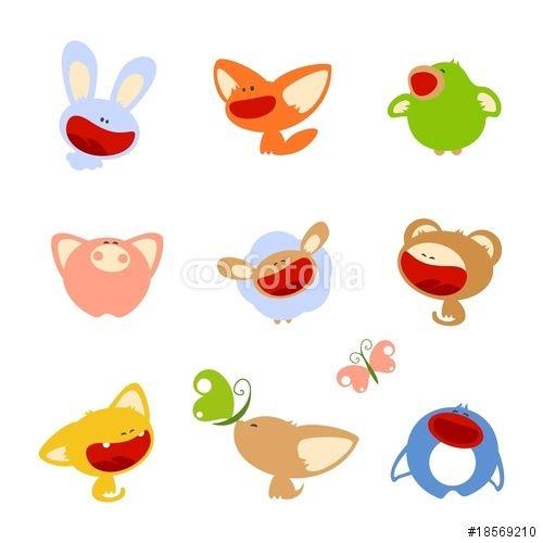 Vecteur : set of images of cute baby animals