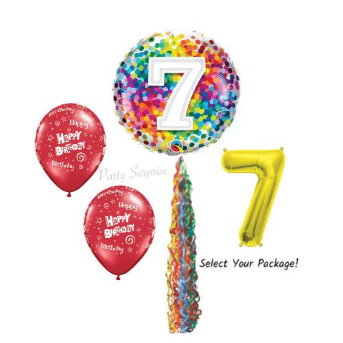 "16/"" 7th Birthday Party Number Foil Balloon Air Fill Pink Blue Gold Silver Animal"
