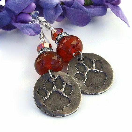 #Dog #PawPrint #Handmade #Earrings, White Copper Orange Lampwork Crystal Dangle Jewelry #DogRescue @ShadowDog #ShadowDogDesigns #Indiemade - $40.00 - SOLD