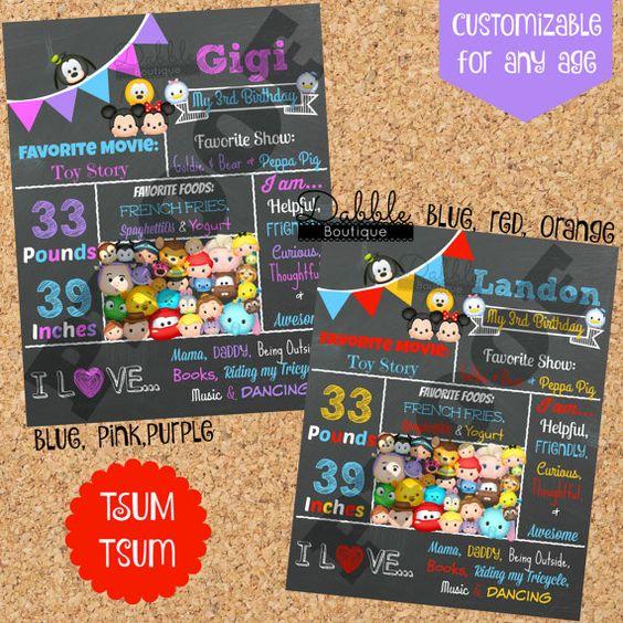 Tsum Tsum Birthday Chalkboard / Tsum Tsum by TinasDabbleBoutique