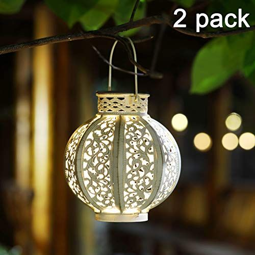 Maggift 2 Pack Hanging Solar Lights Outdoor Solar Lights Retro Hanging Solar Lantern With Handle 4 Lumens White All4hiking Com Solar Hanging Lanterns Solar Lights Garden Hanging Solar Lights