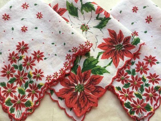 3 Vintage Christmas Handkerchief / Hankies Lot with Poinsettias FREE shipping  | eBay