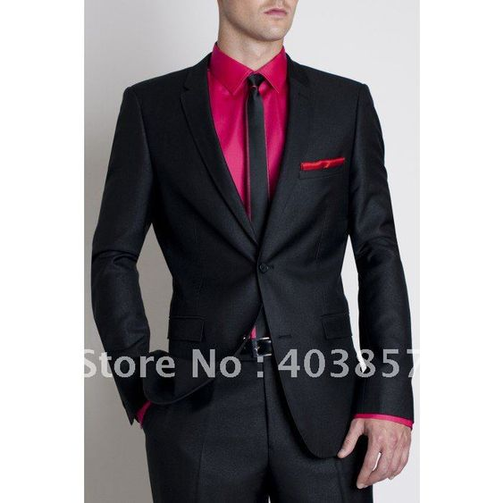 Custom Made Men Tuxedo Bespoke Hot Pink Groom Wedding Suit And Black Shawl Lapel