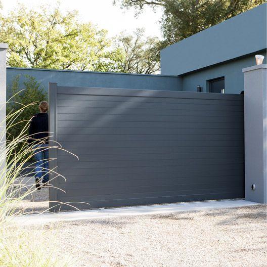 Portail coulissant en aluminium concarneau naterial x cm porta - Portail coulissant castorama aluminium ...