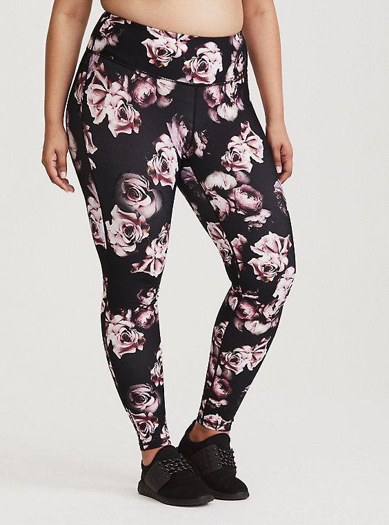 08ea14051f613 Plus Size Torrid Active - Black Floral Legging