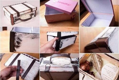 Old suitcase from shoebox - DIY