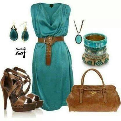 Turquoise Dress and. Brown. Shoes