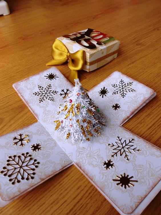White Christmas Exploding Box Card by LittleSofi