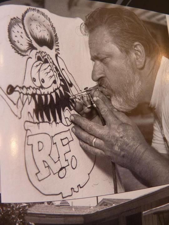 Ed Roth and his beloved Rat Fink