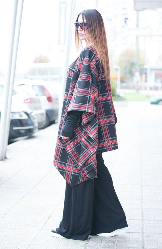 Scottish Plaid Women's Coat, Wool Scottish Plaid Bolero, Jacket, Asymmetrical  Wool Coat, Extravagant Zipper Coat by EUG FASHION