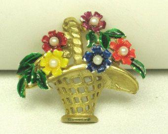 Vintage St. Labre Enamel Flower Basket Pin with Imitation Pearls