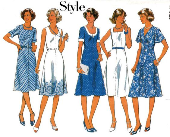 Style 1925 Half Size Dress Vintage Sewing by allthepreciousthings