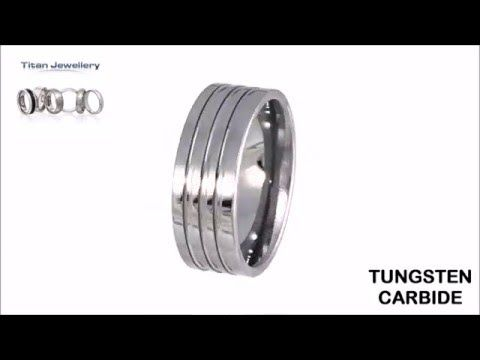 Men's Tungsten Lathed Grooves Design Polished Ring