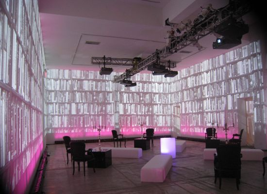 Skylight Soho event space - projected library
