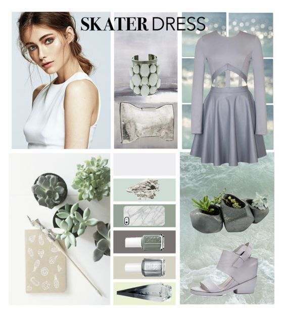 """""""Cutout Skater Dress"""" by aziaza ❤ liked on Polyvore"""