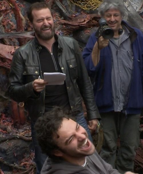 Aidan Turner, Richard Armitage, and Andrew Lesnie, behind the scenes of The Hobbit.