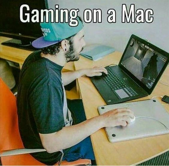 gaming on mac meme | Funny games, Apple memes, Gamer humor