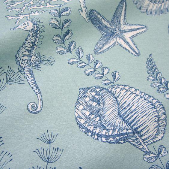 Stoff Seepferdchen Muschel Koralle aqua mint NEU von Werthers Stoffe auf DaWanda.com