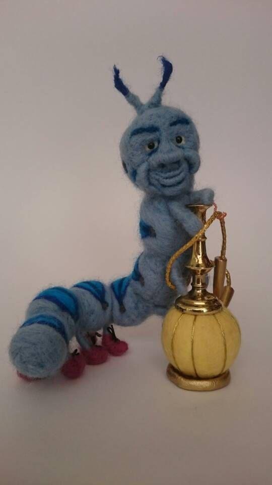 Die Raupe ein Honey Pot Kreationen 100 % Wolle Nadel Filz, poseable, Zeichen; Alice im Wunderland Charakter, Absolem, 84,48 Euro plus Versand