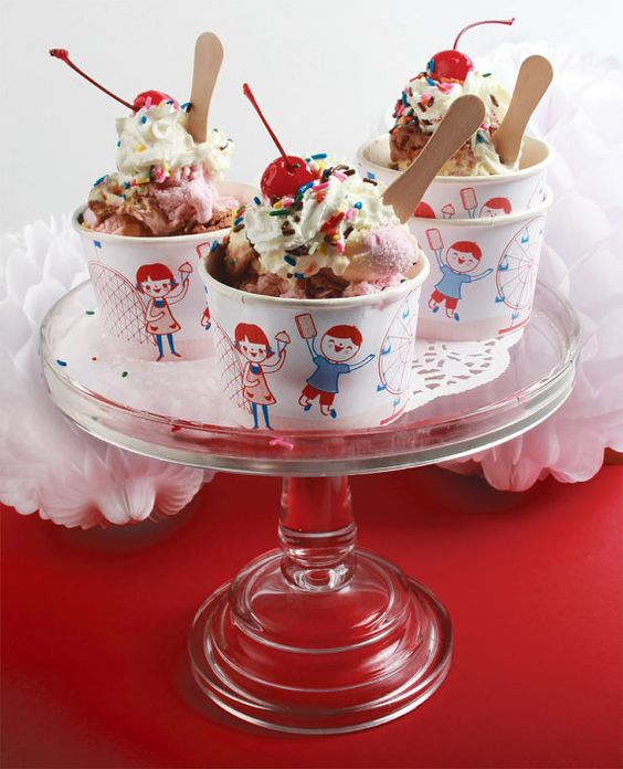 Old Fashioned Ice Cream Social Cups with DIY unstamped wooden spoons-Set of 12