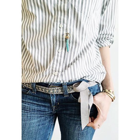 A closer look ☝at the gray beaded ribbon sash belt! I've had this @jcrew belt for almost 10 years!  Gray striped shirt from @madewell1937 #howtojcrew #ootd #aotd