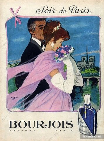 bourjois perfumes 1959 soir de paris hof vintage advertising pinterest parigi e profumo. Black Bedroom Furniture Sets. Home Design Ideas