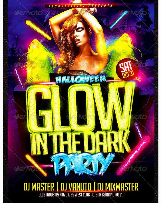 Glow in The Dark Halloween Flyer Template - Party Flyer Templates ...