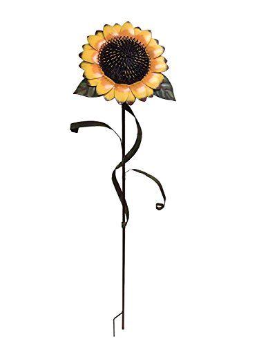 Decorative Garden Stakes YK Decor Garden Sunflower Stake Metal