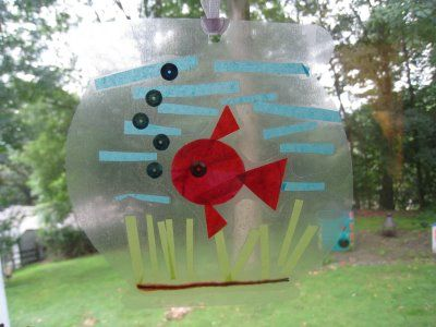 fish bowl craft w/ contact paper. i can only imagine my kids and contact paper. but its cute.