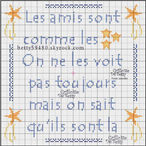 Amitiés - friendship - point de croix - cross stitch - Blog : http://broderiemimie44.canalblog.com/