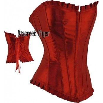 Red satin corset with ruffled trim. Flexible bones throughout corset top.  www.discreettiger.com.au