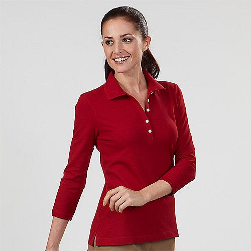3 4 sleeve womens polo shirts real red 13z0083 izod for Women s dri fit polo shirts wholesale