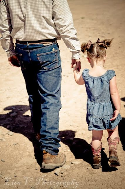 "Daddy and his Little Cowgirl. I want to take a picture like this of brad and laura...1 with his tall tops on and her with her pants tucked in and another with his ""rodeo"" clothes on and her in her rodeo clothes.:"