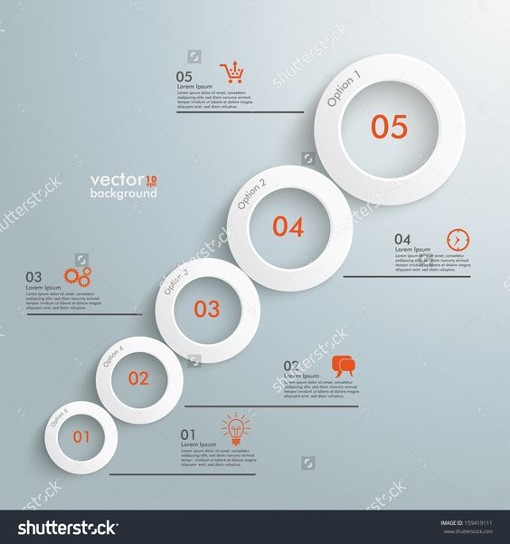 Infographic With White Circles On The Grey Background. Eps 10 Vector File. - 159419111 : Shutterstock