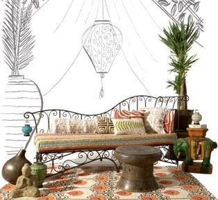 boho porch furniture.   note the mushroom stool for extra table seating.