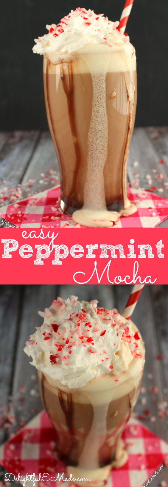 With just a few ingredients, you can easily make your favorite Peppermint Mocha coffee drink right at home! Perfect for the holidays and enjoying with your Christmas cookies!