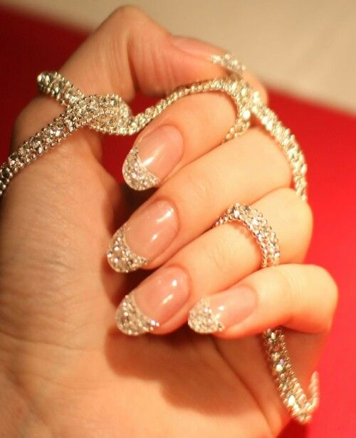 beautiful glitter french manicure   30 Best Bridal Nail Art Designs That Will Trend This Year!   Function Mania   bridal nail polish, wedding nail art, Indian bridal nail art designs, gorgeous wedding nail art designs, wedding nails with glitter, bridal themed nail art, bridal nails, copper glitter nail art #bridalnailart #latestbridalnailartideas #bridalnailart  