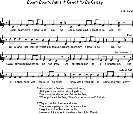 Boom Boom! Ain't it Great it Be Crazy? - Beth's Notes